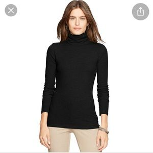 LAUREN PETITE Black Elbow Patch Ribbed Turtleneck
